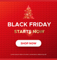 black friday sale web banner on a red background vector image