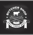 butcher shop badge or label with cow beef vector image vector image