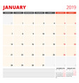 calendar planner template for january 2019 week vector image vector image