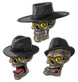 cartoon bandit mafia skulls with black hat vector image
