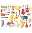 Cartoon musical instruments guitars bongo drums