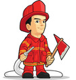 Cartoon of Firefighter Boy vector image vector image