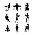 cartoon silhouette black characters people male vector image vector image
