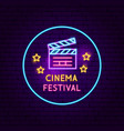 cinema festival neon sign vector image