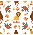 Circus animals and food seamless pattern vector image