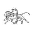 circus lion jumps into fire ring sketch vector image