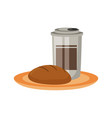 coffee cup and wholemeal bread vector image vector image