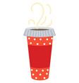 coffee in decorative plastic cup hot beverage vector image vector image