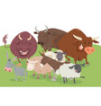 comic farm animal characters group vector image vector image