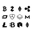 Cryptocurrency logo set vector image