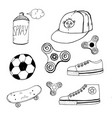 doodle spinner cap aerosol paint ball sneakers vector image vector image