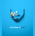 fathers day card papercut beard with nature leaf vector image