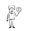 figure man with coin cash money in the hand vector image vector image