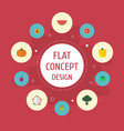 flat icons melon slice apricot gourd and other vector image vector image