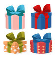 four colorful gift boxes on a white vector image