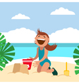 Funny kids on the beach Boy sunbathing and vector image vector image