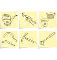 gardening tools on yellow memo vector image