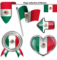 Glossy icons with Mexican flag vector image