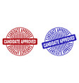 grunge candidate approved scratched round stamp vector image vector image