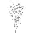 hand and planet saturn with rings aesthetic line vector image