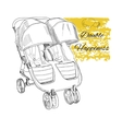 hand drawn stroller for twins Double happiness vector image vector image