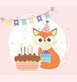 happy day little fox sitting with gift and cake vector image vector image