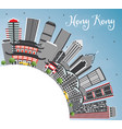 hong kong china skyline with gray buildings blue vector image vector image