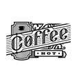 hot coffee vintage style logo emblem vector image