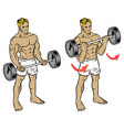 male fitness workout doing barbell durl to train vector image vector image