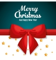 merry christmas card ribbon red stars design vector image