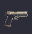 modern pistol handgun with outline over dark vector image vector image