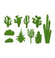 paper cut collection of green cacti vector image