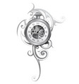 pocket watch tattoo vector image vector image
