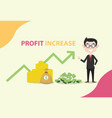 profit increase with business man standing with vector image