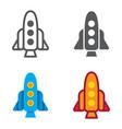 rocket designed icons set vector image