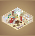 rural house interior design isometric vector image