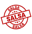 salsa round red grunge stamp vector image vector image