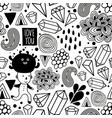 seamless pattern with strange creatures in black vector image vector image