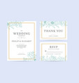 set of vintage wedding invitation template with vector image vector image
