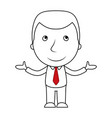 smiling businessman line cartoon opens his arms vector image