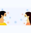 social distancing men women in medical mask vector image vector image