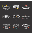 Welcome baby girl Baby girl arrival postcards Baby vector image