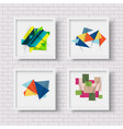 white picture frames with colorful geometric vector image