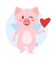 winking pig with wings vector image vector image