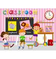 Children having fun in classroom vector image