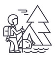 traveller in foresttourist hiking tent vector image