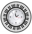 realistic office clock and piano keys on white vector image
