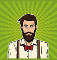 hispter male pop art cartoon vector image