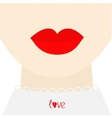 Fashion woman face with big thick red lips neck vector image