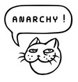 anarchy cartoon cat head speech bubble vector image vector image